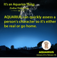 Aquarius, Home, and Zodiac: It's an Aquarius Thing  Zodiac Thi  Can quickly assess person's character so it's either  be real or go home  AQUARIUS  (January 20 to February 18)