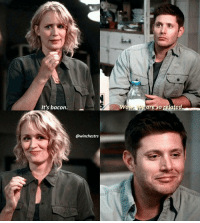 [12.03] I thought this was so cute to throw in and I love how Dean got so excited that he was like his mom (,: . QOTD: if your parents were supernatural characters- based on your personality, who would your parents be? . Aotd: probably sam and charlie . . . If you haven't already, be sure to click the link in my bio and download Showgo! The app is an interactive way for the spnfamily worldwide to watch, react, and share with other fans! I use the app every week with my followers and honestly I don't think I'd watch another episode without it! The app is spoiler free- it syncs to your TV and won't show you any comments before you've seen that specific part of the episode! Even better, time zone does NOT matter. When you watch, it'll show you the comments everyone else made at that time, and you can add your own thoughts and reactions. Even if you can't watch it for weeks after everyone else, you can still use the app 😊 hundreds of you have joined me already, and it's more every week! 😘 can't wait to see yall ! . . . supernatural spn spnfamily fandom cw jensenackles jaredpadalecki mishacollins spncast spnscene deanwinchester samwinchester castiel cas akf marywinchester samanthasmith samsmith season12: It's bacon.  @winchestrs  are so gelated [12.03] I thought this was so cute to throw in and I love how Dean got so excited that he was like his mom (,: . QOTD: if your parents were supernatural characters- based on your personality, who would your parents be? . Aotd: probably sam and charlie . . . If you haven't already, be sure to click the link in my bio and download Showgo! The app is an interactive way for the spnfamily worldwide to watch, react, and share with other fans! I use the app every week with my followers and honestly I don't think I'd watch another episode without it! The app is spoiler free- it syncs to your TV and won't show you any comments before you've seen that specific part of the episode! Even better, time zone does NOT matter. When you watch, it'll show you the comments everyone else made at that time, and you can add your own thoughts and reactions. Even if you can't watch it for weeks after everyone else, you can still use the app 😊 hundreds of you have joined me already, and it's more every week! 😘 can't wait to see yall ! . . . supernatural spn spnfamily fandom cw jensenackles jaredpadalecki mishacollins spncast spnscene deanwinchester samwinchester castiel cas akf marywinchester samanthasmith samsmith season12