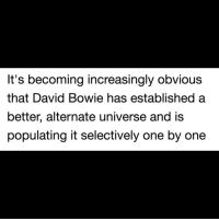 Shiiiii. (Credit: Twitter - mstexas1967).: It's becoming increasingly obvious  that David Bowie has established a  better, alternate universe and is  populating it selectively one by one Shiiiii. (Credit: Twitter - mstexas1967).