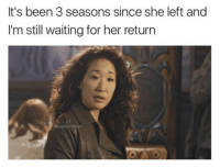 Memes, Waiting..., and Been: It's been 3 seasons since she left and  I'm still waiting for her return  IG  @kepnershunt seriously tho https://t.co/59GZjSkpoR