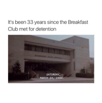 The Breakfast Club: It's been 33 years since the Breakfast  Club met for detention  SATURDAY,  MARCH 24, 1984.