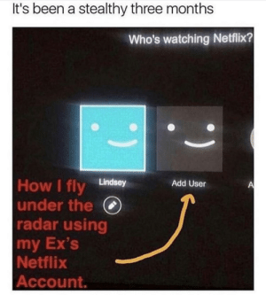 Ex's, Netflix, and Shit: It's been a stealthy three months  Who's watching Netflix?  Lindsey  Add User  under the (  radar using  my Ex's  Netflix  Account. That's some top class stealthy shit right there