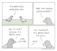 Thought, Nice, and Been: ITS BEEN NICE  KNOWING YOU  ARE TOU GOING  SOMEWHERE?  NO, I'M JUST  SAYING IT S  BEEN NICE  TVE THOUGHT  ITS BEEN NICE  AS WELL  LIKE,  SO FAR  NICE  poorlydrawnlines.com source: Poorly Drawn Lines