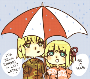 aph-lithuania:i've drawn this pose already but it's raining a lot!: IT'S  BEEN  RAINING  A LOT  LATELY  SO  IT  HAS aph-lithuania:i've drawn this pose already but it's raining a lot!