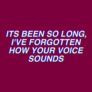 Voice, Been, and How: ITS BEEN SO LONG,  I'VE FORGOTTEN  HOW YOUR VOICE  SOUNDS