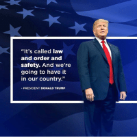 """Donald Trump, Law and Order, and Trump: """"It's called laww  and order and  safety. And we're  going to have it  in our country.""""  PRESIDENT DONALD TRUMP It's called LAW and ORDER and SAFETY."""