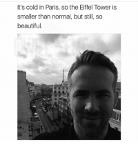 Beautiful, Memes, and Eiffel Tower: It's cold in Paris, so the Eiffel Tower is  smaller than normal, but still, sc  beautiful Legendary