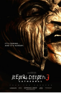 #TheHorrorFansClubPage 💀: IT'S COMING...  AND IT'S HUNGRY.  JEEPERS CrEEDErs  C A T H E D R A L  F E A R T H E C R E E P E R  LIONSGATE  SPRING 2017  MYRIAD #TheHorrorFansClubPage 💀