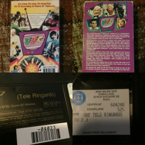 """When you buy an old VHS, wait years to introduce your kids to the genius of Weird Al, only to find out you didn't pay the best attention at that time and it's the FRENCH VERSION OF THE VIDEO. The cover is all English. I feel robbed.: it's crazy. It's zany. It's hysterical.  It's TV According to""""Weird Al"""" Yankovic.  6:30  RAIDERS OF THE FALLEN ARCHES  7:00 ALMOST HAMBOW  7:30  TOWN TALK WITH GEORGE  8.00 CONAN THE LIBRARIAN  WHEEL OF FISH  9:00  9.30 GONE WITH  A WHIM  10:00 GANDH  corge Newman (""""Weird AI"""" Yankovic) is a daydreamer  whose hyperactive imagination keeps him from holding a  steady job...until he becomes the general manager of Channel 62,  a local television station his uncle wins in a poker game.  Unfortunately, the station is about one week away from  bankruptcy. In a moment of desperation, George makes janitor  Stanley Spadowski (Michael Richards) the star of a dull children's  show and stumbles onto a ratings goldmine...who else would  treat lucky kids to a drink from a high-pressure fire hose?  """"Stanley Spadowski's Playhouse"""" is just weird enough to attract  an audience!  Before long, endless reruns have been replaced with bizarre  programming that could only have come from one place: George  Newman's unique imagination. Shows like """"Wheel Of Fish,"""" """"Name  That Stain,"""" """"Conan The Librarian,"""" """"The Wonderful World Of  Phlegm,"""" and """"Raul's Wild Kingdom,"""" where poodles lean to fly  from third story windows!  But as Channel 62's ratings start to rise, so does the wrath of TV  mogul R.J. Fletcher (Kevin McCarthy), who wants to buy the  station and turn it into a parking lot.  Can Channel 62 come up with the money it needs to stay on the  air? George Newman's imagination is the only place to find out!  NO EXCHG  Running Time: 97 Minutes, Color, 1989  NON VALIDE SUR  EMBALLAGE  SI NON ENCADRÉ DE  BLEU  (Tele Ringards)  REGIE  PG-13  WE MP  8739, Durée 97 Minutes,  CERTIFICAT  604280  525  TRE UHF TELE RINGARDS  EXEMPLAIRE  eares cinematographiQues. musicales"""