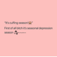 "Bitch, Depression, and Girl Memes: ""It's cuffing season!A  First of all bitch it's seasonal depression  season @fuckboysfalilures"
