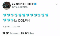 Memes, Social Media, and Wshh: its DOLPHHHHHH!  @YoungDolph  Its DOLPH !  10/1/17, 1:06 AM  71.3K Retweets 99.5K Likes YoungDolph finally uses social media after he was shot multiple times in Hollywood a few days ago! 😳👀🙏 @youngdolph WSHH