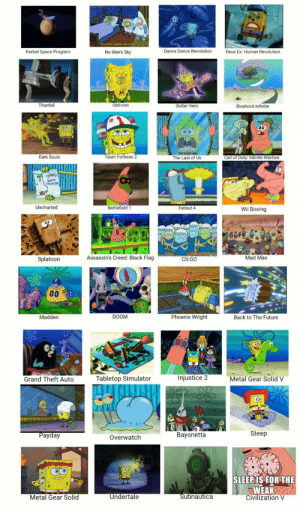 In honor of 100k, heres 36 video games accurately represented with SpongeBob screenshots: It's even uglier up close  Kerbal Space Program  No Man's Sky  Dance Dance Revolution  Deus Ex: Human Revolution  Titanfall  Oblivion  Guitar Hero  Bioshock Infinite  并  Dark Souls  Team Fortress2  The Last of Us  Call of Duty: Infinite Warfare  BURED  REASURE  Uncharted  Battlefield 1  Fallout 4  Wii Boxing  Splatoon  Assassin's Creed: Black Flag  CS:GO  Mad Max  Madden  DOOM  Phoenix Wright  Back to The Future  Grand Theft Auto  Tabletop Simulator  Injustice 2  Metal Gear Solid  ayday  Overwatch  Bayonetta  Steep  SLEEPIS FOR THE  WEAK  Civilization V  Metal Gear Solid  Undertale  ubnautica In honor of 100k, heres 36 video games accurately represented with SpongeBob screenshots