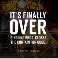 """Animals, Children, and Cookies: IT'S FINALLY  OVER  RINGLING BROS CLOSES  THE CURTAIN FOR GOOD  HBOYCOTT CIRCUS Finally. So happy that they are closed now. NO ANIMAL belongs in the circus. There is NO excuse for animal abuse. I hope that in the future, the """"Circus"""" will be known for human performances, music, and artistry, and NOT ANIMALS. I hope that NABISCO will re-name their cookies and call them """"Animal Shaped Cookies"""" and stop producing a cookie for children branded of """"circus"""" animals. It is time for change, and I am SO happy that the last show of the RINGLING Bros and Barnum & Baily is over. Thank you to everyone who DID NOT go to the circus, and helped close the doors of the saddest show. BoycottCircus BeHuman BoycottCircus TheyHaveFeelings BoycottNabisco"""