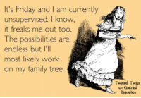 Family, Friday, and Funny: It's Friday and I am currently  unsupervised. I know  it freaks me out too  The possibilities are  endless but lI'll  most likely work  on my family tree  OW,  Twisied Twigs  cn Qnarkd  Branches Friday Funny~ Aint It The Truth! #geneabloggers #genealogy