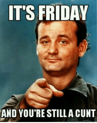 Friday, It's Friday, and Memes: IT'S FRIDAY  AND YOU'RE STILLA CUNT Cuntology