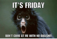It's Friday: IT'S FRIDAY  DON'T COME AT ME WITH NO BULLSHIT