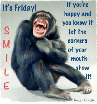 happy and you know it: It's Friday!  If you're  happy and  you know it  let the  Corners  of your  mouth  show  Image: Google