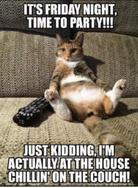 🤣: IT'S FRIDAY NIGHT  TIME TO PARTY!!!  JUST KIDDING I'M  ACTUALLYATTHE HOUSE  CHILLIN ONTHE COUCH! 🤣
