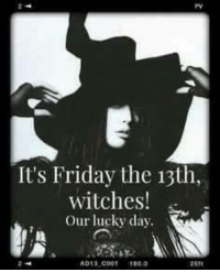 >>>>Dark Lady<<<<: It's Friday the 13th  witches  Our lucky day.  AD13 Cog >>>>Dark Lady<<<<