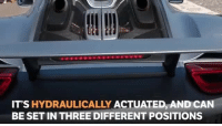 The Porsche 918's wing is pretty clever!: IT'S HYDRAULICALLY ACTUATED, AND CAN  BE SET IN THREE DIFFERENT POSITIONS The Porsche 918's wing is pretty clever!