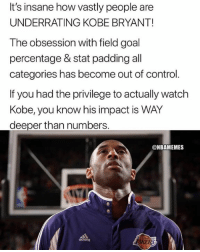 Mamba FACTS! 🐍💯: It's insane how vastly people are  UNDERRATING KOBE BRYANT!  The obsession with field goal  percentage & stat padding all  categories has become out of control.  If you had the privilege to actually watch  Kobe, you know his impact is WAY  deeper than numbers  @NBAMEMES  adidos Mamba FACTS! 🐍💯