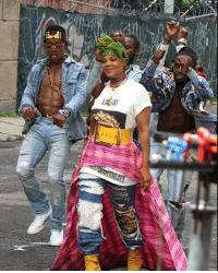 Memes, Music, and Nasty: It's Janet ... Miss Jackson if you're nasty. The singer was shooting a music video in Brooklyn with a quartet of denim draped dancers. She's baaaack!! tmz janetjackson rhythmnation 📷: instarimages