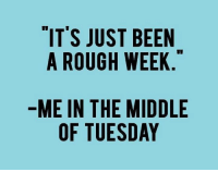 Memes, Rough, and 🤖: IT'S JUST BEEN  A ROUGH WEEK  ME IN THE MIDDLE  OF TUESDAY