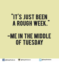 Memes, Panda, and The Middle: IT'S JUST BEEN  A ROUGH WEEK  ME IN THE MIDDLE  OF TUESDAY  f @sleepy Panda me O @sleepy Panda me  @sleepy Pandame