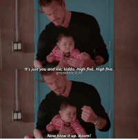 Memes, Boom, and 🤖: It's just you and me, kiddo. High five. High five.  greysoholic 8.04  Now blow it up. Boom! «8.04» favs — [ greysanatomy greysabc ]