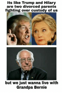 Who's woke? - Delicious Memes: Its like Trump and Hilary  are two divorced parents  fighting over custody of us  but we just wanna live with  Grandpa Bernie Who's woke? - Delicious Memes