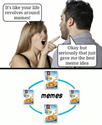 Life Meme: It's like your life  revolves around  memes!  Okay but  seriously that just  gave me the best  meme idea  life  life  memes  life  Ire