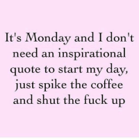 It's Monday and I don't  need an inspirational  quote to start my day,  just spike the coffee  and shut the fuck up ~Hot Mess~