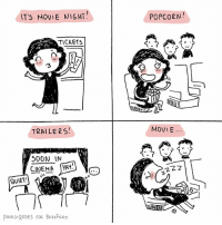 Typical movie night (By @pinks_and_roses) comics movies cinema: IT'S MOVIE NIGHT  POPCORN  TICKET  MOVIE.  TRAILER5!  500N IN  CINEMA YAY!  QUIET  PINKS ROSES FOR BUZZFEED Typical movie night (By @pinks_and_roses) comics movies cinema