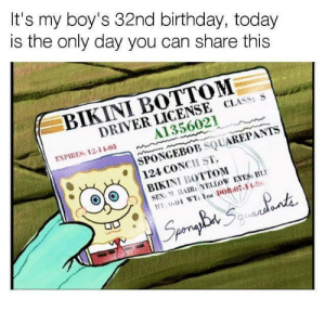 Birthday, Sex, and SpongeBob: It's my boy's 32nd birthday, today  is the only day you can share this  BIKINI BOTTOM  DRIVER LICENSE CLASS: S  A1356021  ENPIRES: 12-11-03  SPONGEBOB SQUAREPANTS  124 CONCH ST.  BIKINI BOTTOM  SEX: AIR: YELLOW EYES: BI Please celebrate our boy