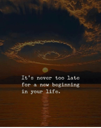 Its Never Too Late: It's never too late  for a new beginning  in your life.