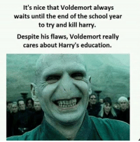 Memes, Sarcasm, and 🤖: It's nice that Voldemort always  waits until the end of the school year  to try and kill harry  Despite his flaws, Voldemort really  cares about Harry's education. Twitter: BLB247 Snapchat : BELIKEBRO.COM belikebro sarcasm meme Follow @be.like.bro