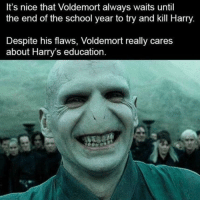 Memes, School, and Nice: It's nice that Voldemort always waits until  the end of the school year to try and kill Harry.  Despite his flaws, Voldemort really cares  about Harry's education. Student Lives Matter via /r/memes https://ift.tt/2PYsiu8