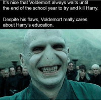 School, Good, and Nice: It's nice that Voldemort always waits until  the end of the school year to try and kill Harry.  Despite his flaws, Voldemort really cares  about Harry's education Even Voldy knows how important a good education can be!