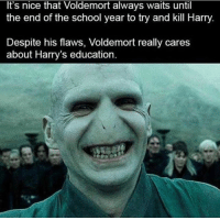 its nice that: It's nice that Voldemort always waits until  the end of the school year to try and kill Harry  Despite his flaws, Voldemort really cares  about Harry's education.