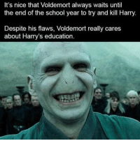 its nice that: It's nice that Voldemort always waits until  the end of the school year to try and kill Harry  Despite his flaws, Voldemort really cares  about Harry's education