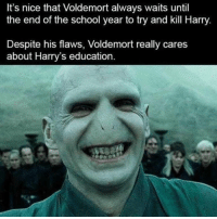 @studentlifeproblems: It's nice that Voldemort always waits until  the end of the school year to try and kill Harry  Despite his flaws, Voldemort really cares  about Harry's education @studentlifeproblems