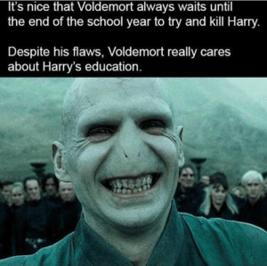 memehumor:  WHAT A GREAT GUY: It's nice that Voldemort always waits until  the end of the school year to try and kill Harry.  Despite his flaws, Voldemort really cares  about Harry's education memehumor:  WHAT A GREAT GUY