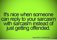 memes: It's nice when someone  can reply to your sarcasm  with sarcasm instead of  just getting offended  omg, That's Totally Me.