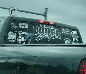 "Trashy, Cummins, and Condoms: ITS NOR A RD EOCKIN  TSADESE, JUCAS  THE  DOD  Bo  condoms  prevent  minivans THIEK  CODETERNATR  DEE  NUTS  REAL TRUCKS  NEY  0on'T HAUE  T'S ONLY  REAL  SPARK PLUGSTRUCKS  Cummins  RATTLE Found in Upstate NY. There is so much to choose from here. My particular favorite is the dripping ""shocker"" fingers."