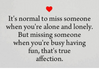 missing someone: It's normal to miss someone  when you're alone and lonely  But missing someone  when you're busy having  fun, that's true  affection.