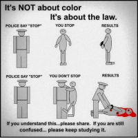 """Relevant: It's NOT about color  It's about the law.  YOU STOP  RESULTS  POLICE SAY """"STOP""""  POLICE SAY """"STOP  YOU DON'T STOP  RESULTS  If you understand this...please share. If you are still  confused... please keep studying it. Relevant"""