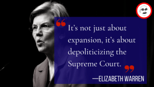 """Elizabeth Warren, Memes, and Supreme: It's not just about  expansion, it's about  depoliticizing the  Supreme Court.9  -ELIZABETH WARREN Is court packing the best way to """"depoliticize"""" the Supreme Court as Elizabeth Warren believes? Some of these court packing schemes, esp. Beto O'Rourke's, strike me as unconstitutional. Tune in this Sunday at 8:00 AM Pacific to hear my guest Prof. Ilya Somin's perspective. https://reason.com/2019/03/20/dangers-of-growing-support-for-court-pac/"""