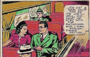 Clark joins the Mile High Club…on a train: ITS NOT  REAL CLUE  PER SE  IT'S JUST...  WELL WHY  DON'T WE  STEP INTO  THE  BATHROOM  AND ICAN  EXPLAIN  THINGS  BETTER Clark joins the Mile High Club…on a train