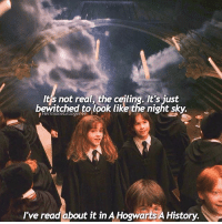 Birthday, Emma Watson, and Memes: It's not real, the ceiling. It's just  bewitched to look like the night sky.  I've read about it in A Hogwarts A History. Happy Birthday Emma Watson ❤❤ @emmawatson - When is your birthday? - fantasticbeasts fantasticbeastsandwheretofindthem harrypotter hermionegranger hogwarts harrypotterscenes emmawatson beautyandthebeast