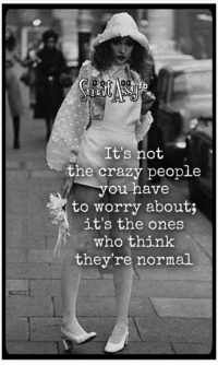 Smart Assy: It's not  the crazy people  you have  to worry about;  it's the ones  who think  they're normal Smart Assy